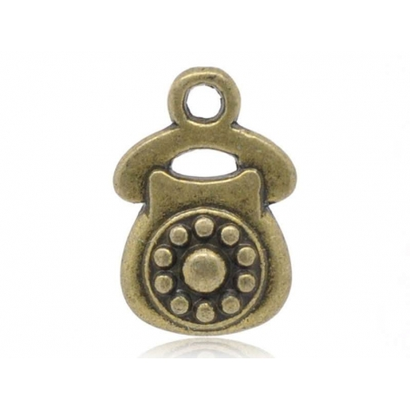 1 Breloque telephone vintage - couleur bronze  - 1
