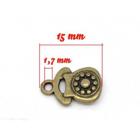1 Breloque telephone vintage - couleur bronze  - 3