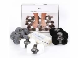 Kit de laine DIY - Pompons pour décoration, harmonie de gris