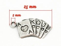 1 deck of cards charm - silver-coloured