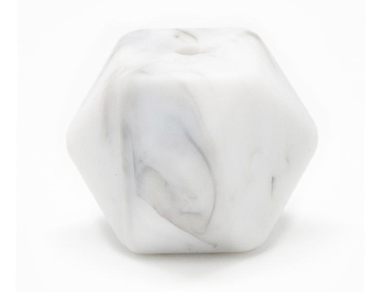 Perle géométrique de 14 mm en silicone - marbré  - 1