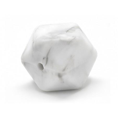 Perle géométrique de 14 mm en silicone - marbré  - 3