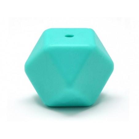 Perle géométrique de 14 mm en silicone - turquoise  - 1