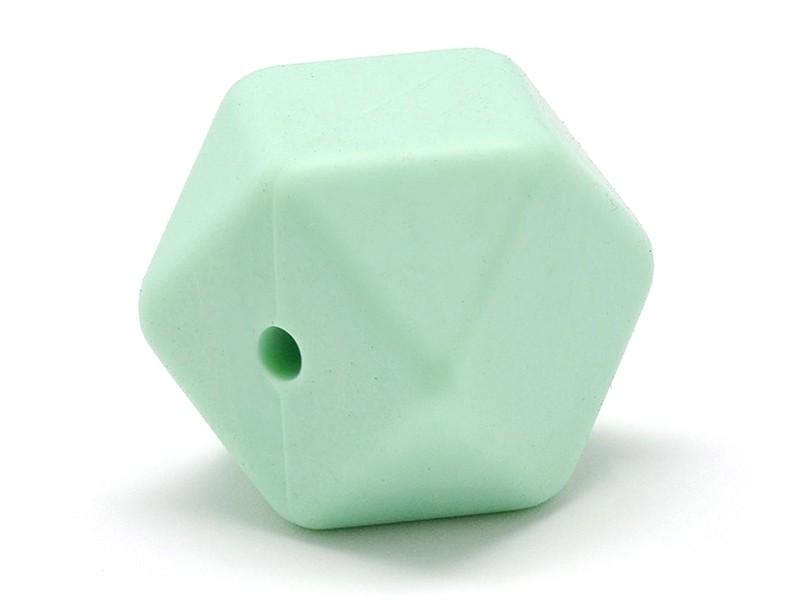 Perle géométrique de 14 mm en silicone - vert menthe  - 1