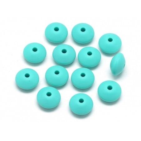 Acheter Lot de 6 perles plates de 12 mm en silicone - turquoise - 2,99€ en ligne sur La Petite Epicerie - Loisirs créatifs