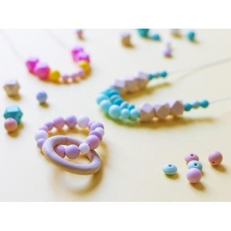 Perle géométrique de 14 mm en silicone - turquoise  - 2