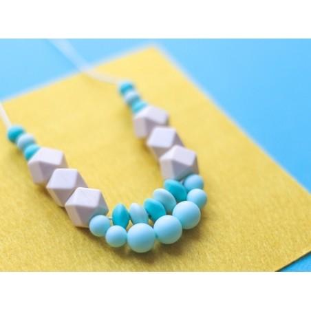 Perle géométrique de 14 mm en silicone - turquoise  - 3