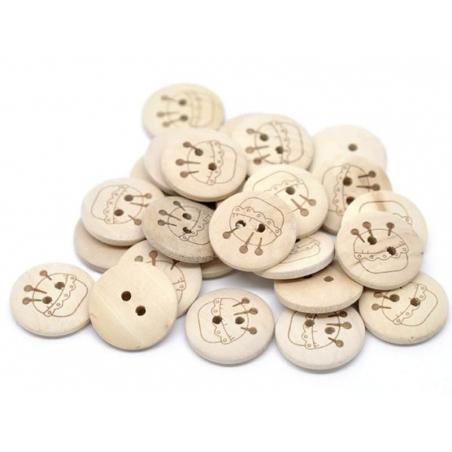 Wooden button (20 mm) - Pin cushion