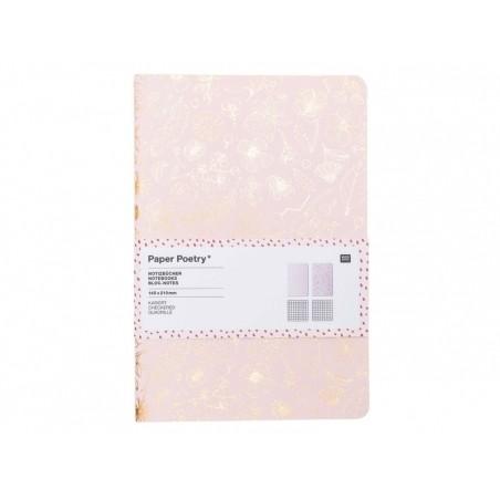 Lot de 2 carnets, motifs rosegold - 14.5 cm x 21 cm  - 1