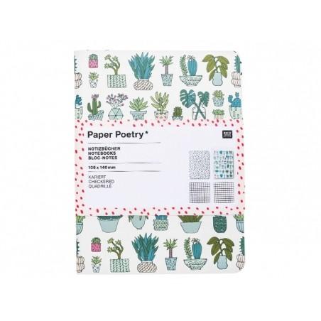 Lot de 2 carnets, motifs cactus et triangles - 10.5 cm x 14 cm  - 1