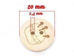 Bouton en bois 20mm - pique aiguille  - 3