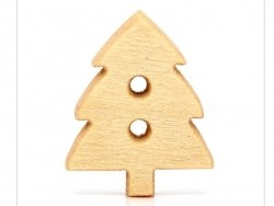 Wooden button - fir tree