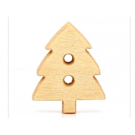 Wooden button - fir tree