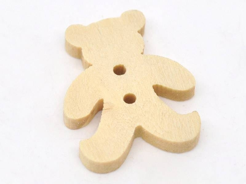 Wooden button - Teddy bear