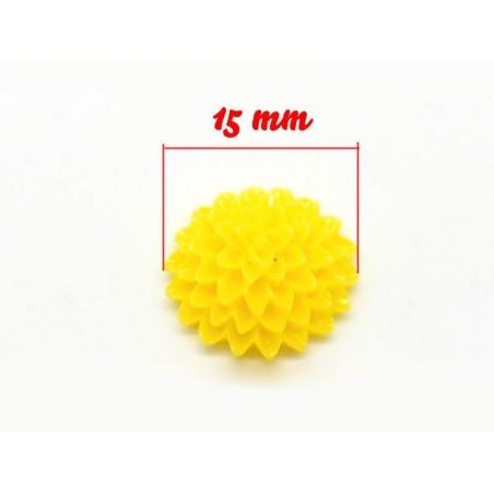 1 Cabochon - fleur jaune  - 3