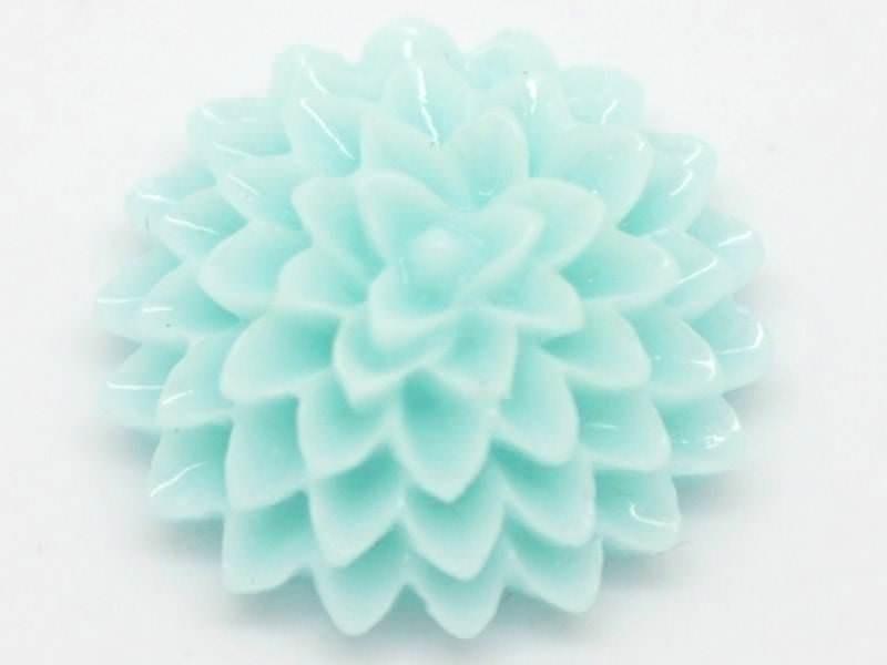 1 Cabochon fleur - bleu pastel  - 1