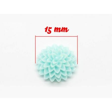 1 Cabochon fleur - bleu pastel  - 3