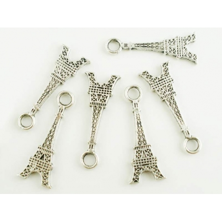 1 2-D Eiffel Tower charm - dark silver-coloured