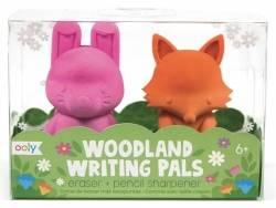 Lot de 2 taille-crayons et gommes animaux - lapin et renard