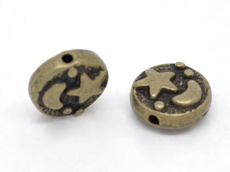 Metal starry sky bead - bronze-coloured