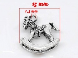 1 rocking horse charm / silver-coloured
