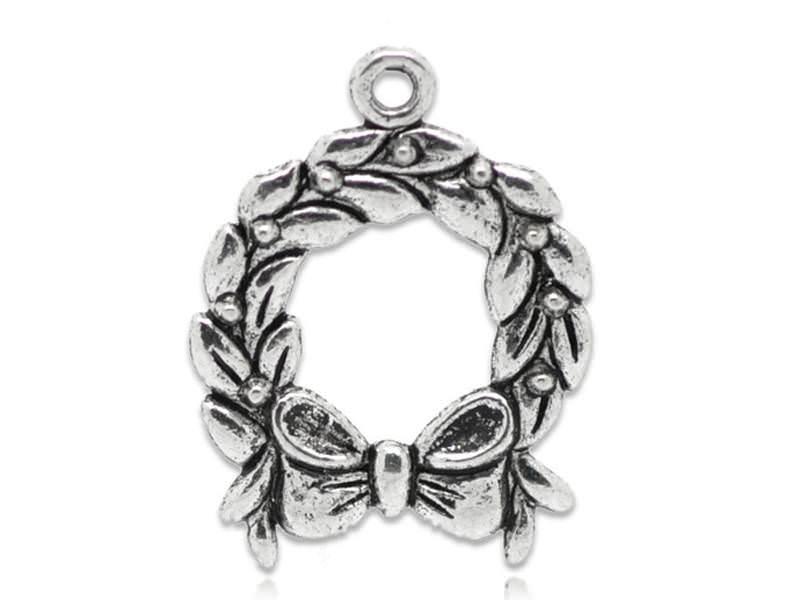 1 breloque couronne de noël - argentée
