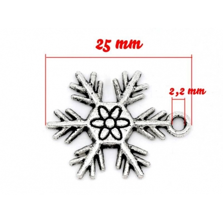 1 snowflake charm - silver-coloured