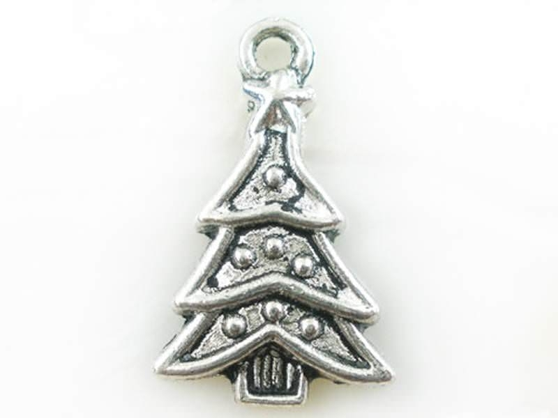 1 Christmas tree charm - silver-coloured