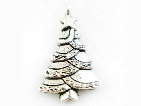 1 Christmas tree charm with fairy lights - silver-coloured