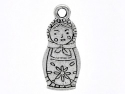 1 Russian nesting doll charm - silver-coloured