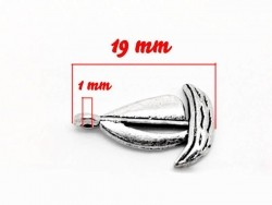 1 Breloque petit bateau / argentée  - 3