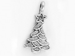1 small Christmas tree charm - silver-coloured