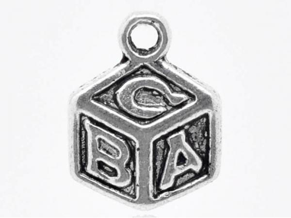 1 Breloque cube ABC / argentée  - 1