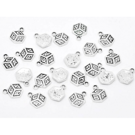 1 ABC cube charm / silver-coloured