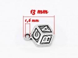 1 ABC cube charm / silver-coloured