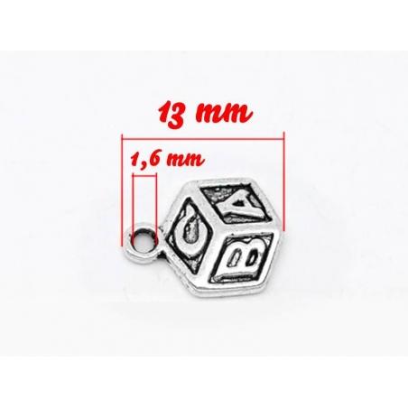 1 Breloque cube ABC / argentée  - 3