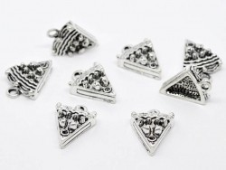 1 piece of a cake charm - silver-coloured