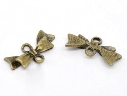 1 elongated bow connector charm - bronze-coloured