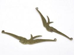 1 Breloque oiseau ailes déployées - couleur bronze
