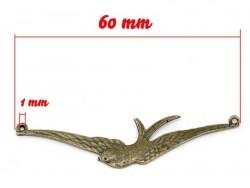 1 bird charm (bird with spread wings) - bronze-coloured