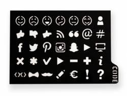 Pochoir d'écriture pour bullet journal - Smiley et réseaux sociaux Kesi art - 1