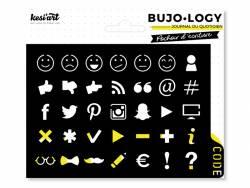 Pochoir d'écriture pour bullet journal - Smiley et réseaux sociaux Kesi art - 3