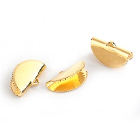 Embout pince demi-lune à griffes - Doré - 20 x 12 mm  - 2