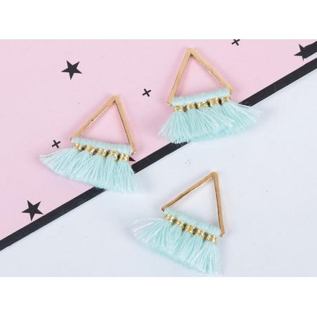 Acheter Pendentif triangle doré à pompons - turquoise - 1,89€ en ligne sur La Petite Epicerie - 100% Loisirs créatifs