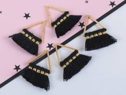 Pendentif triangle doré à pompons - noir  - 3