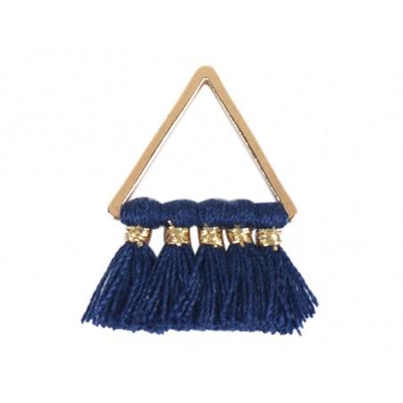 Pendentif triangle doré à pompons - bleu marine  - 1