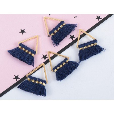 Pendentif triangle doré à pompons - bleu marine  - 2