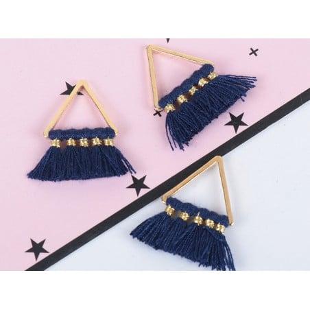 Pendentif triangle doré à pompons - bleu marine  - 3