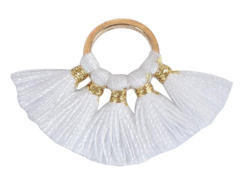 Pendentif rond doré à pompons - blanc  - 1