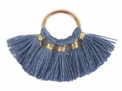 Acheter Pendentif rond doré à pompons - gris - 1,89€ en ligne sur La Petite Epicerie - Loisirs créatifs
